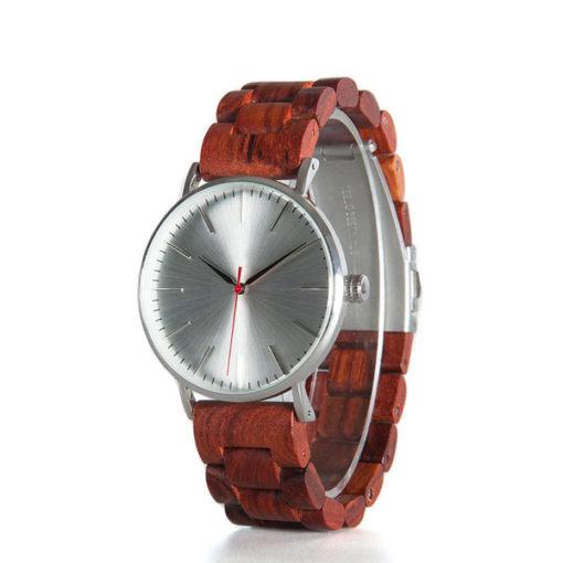 montre bois classique rouge