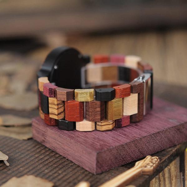 montre en bois a couleurs et cerf bracelet