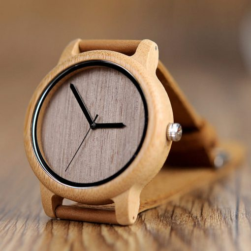 montre en bois bambou cadran