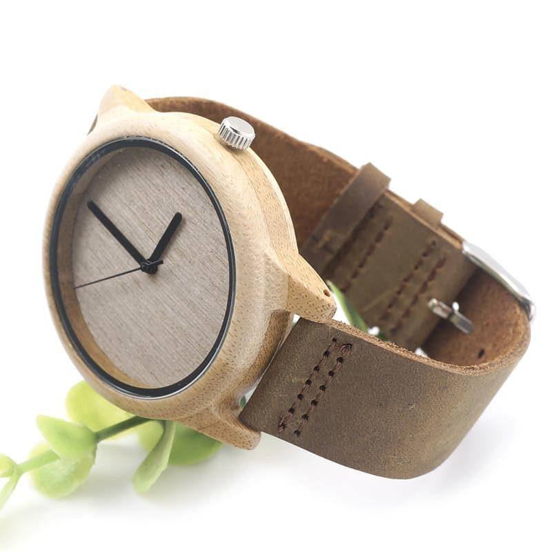 montre en bois bambou face