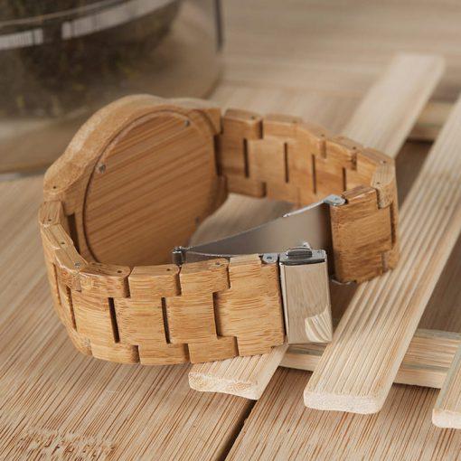 montre en bois chataigne bracelet et attache