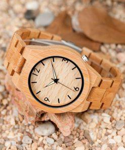 montre en bois chataigne cadran