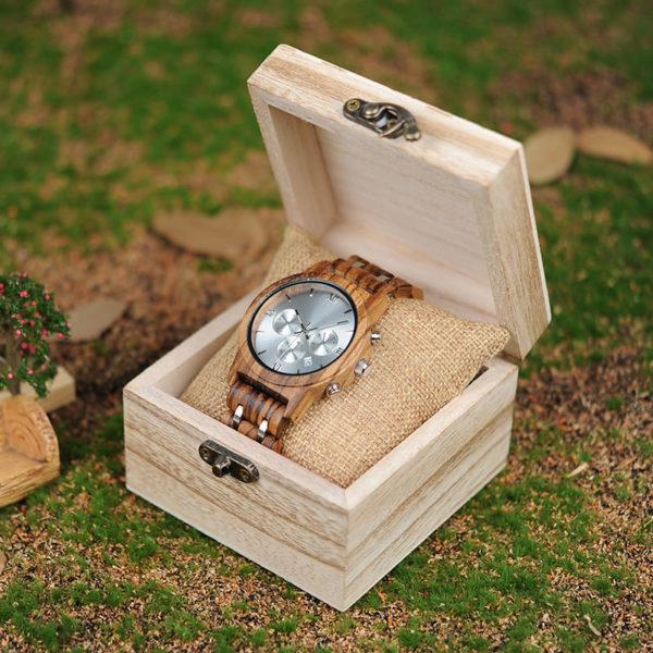 montre en bois luxe a chiffres romains boite