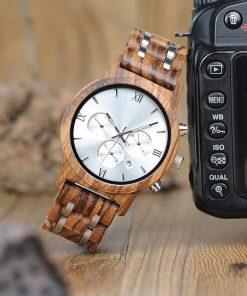 montre en bois luxe a chiffres romains tendance
