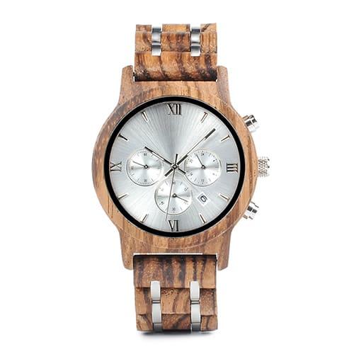montre en bois luxe a chiffres romains
