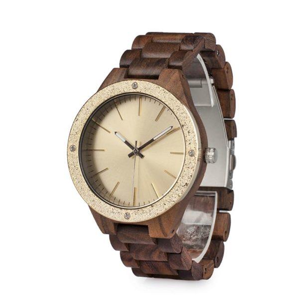 montre en bois luxe moderne dore cadran