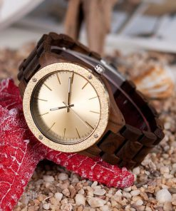 montre en bois luxe moderne dore photo