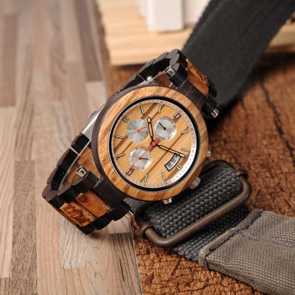 montre en bois moderne chrono aiguilles