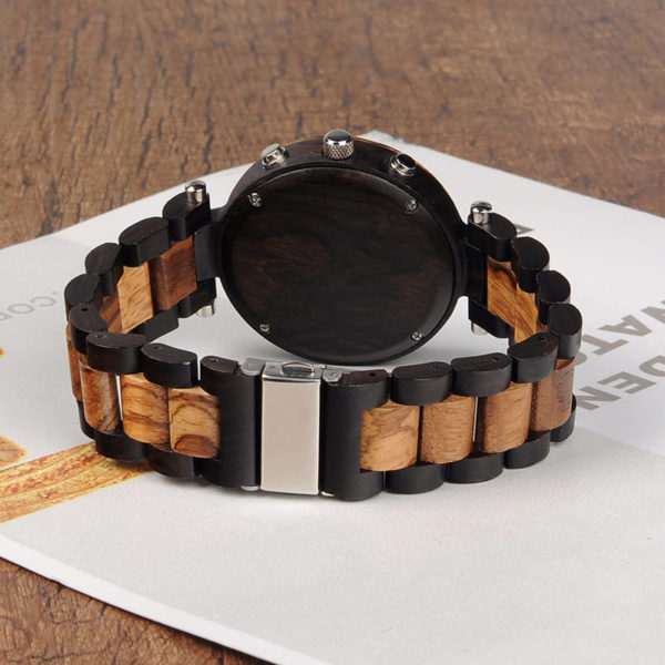 montre en bois moderne chrono arriere