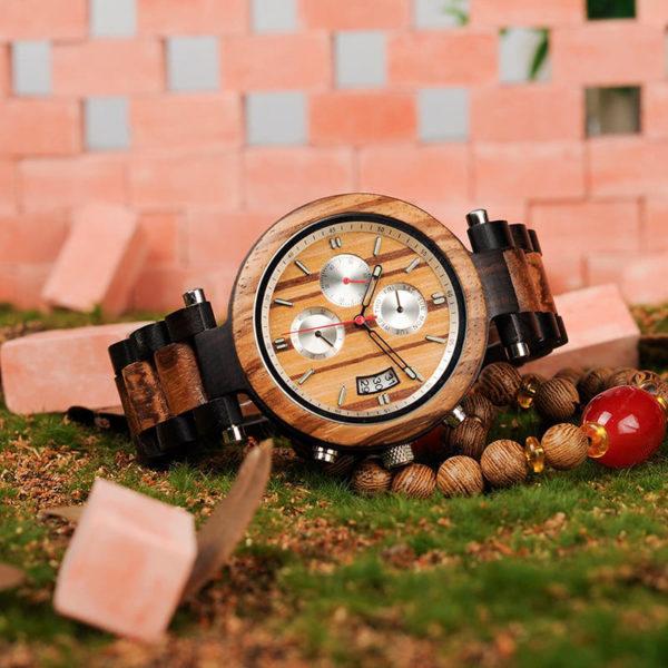 montre en bois moderne chrono luxe