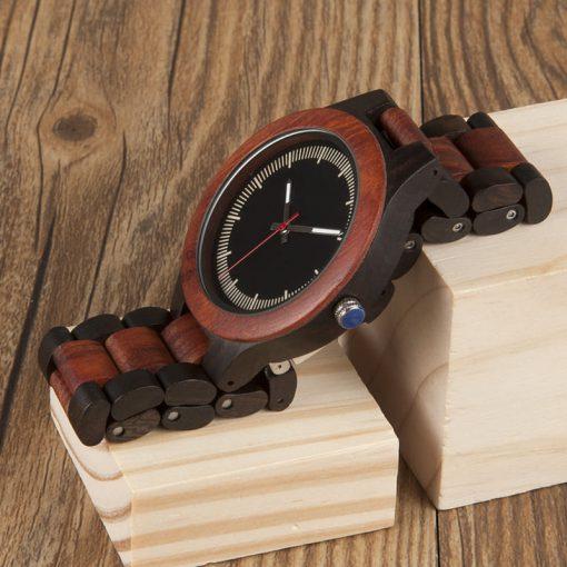 montre en bois moderne unisexe rouge cadran