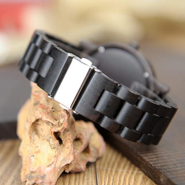 montre en bois sombre authentique fermoir