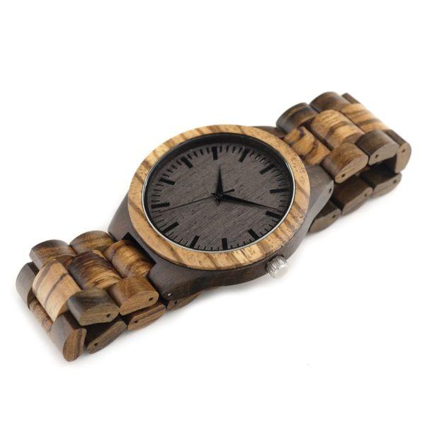 montre en bois style forestier bracelet