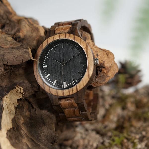 montre en bois style forestier branche