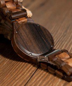 montre en bois style forestier dos