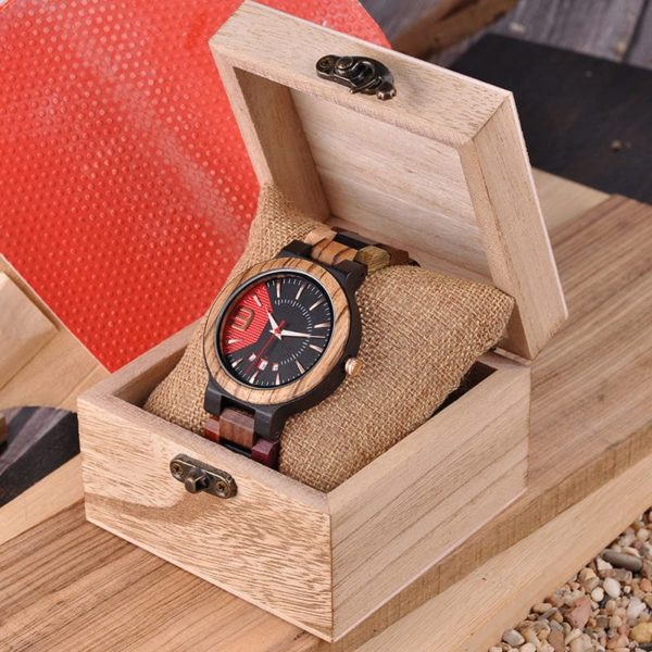 montre en bois style sport boite