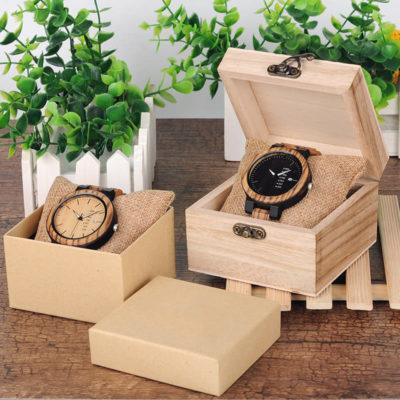 montre en bois style urbain decontracte boites