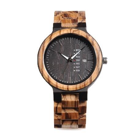 montre en bois style urbain decontracte face noir
