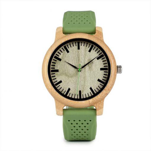 montre en bois vert silicone