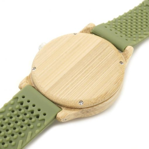 montre en bois vert silicone arriere