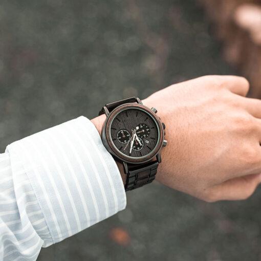 montre en bois gentleman noir ebene poignet