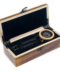 montre en bois mecanique coffret