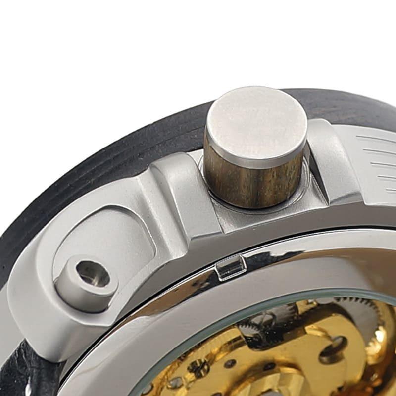 montre en bois mecanique dore mecanisme