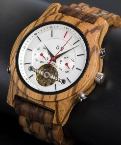 montre en bois mecanique luxe