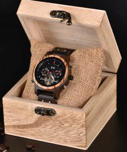 montre en bois mecanique luxe boite
