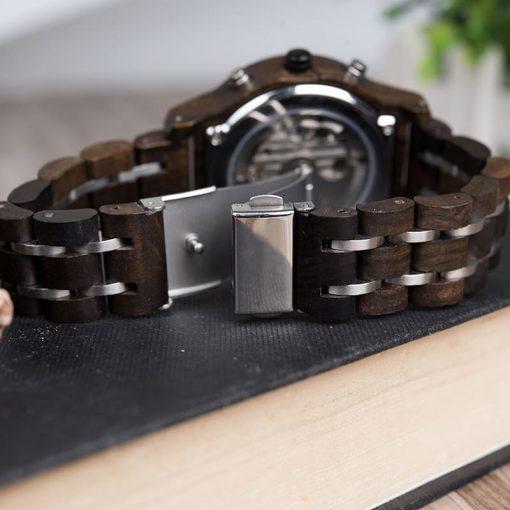 montre en bois mecanique luxe bracelet attache
