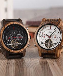 montre en bois mecanique luxe cadrans