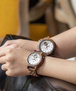 montre en bois mecanique luxe couple