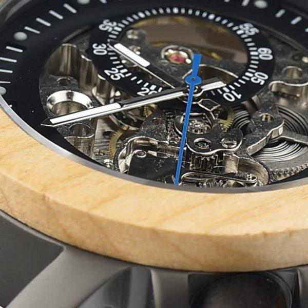 montre en bois mecanique mecanisme aiguilles