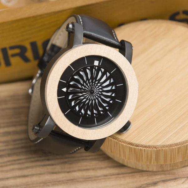 montre en bois mecanique optique aiguilles