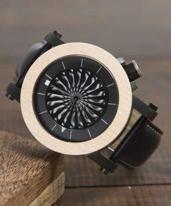 montre en bois mecanique optique blanche