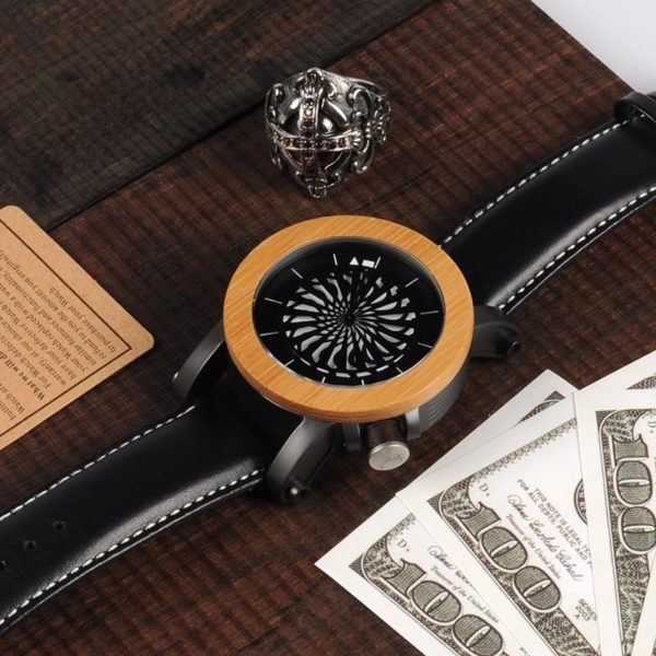 montre en bois mecanique optique bracelet
