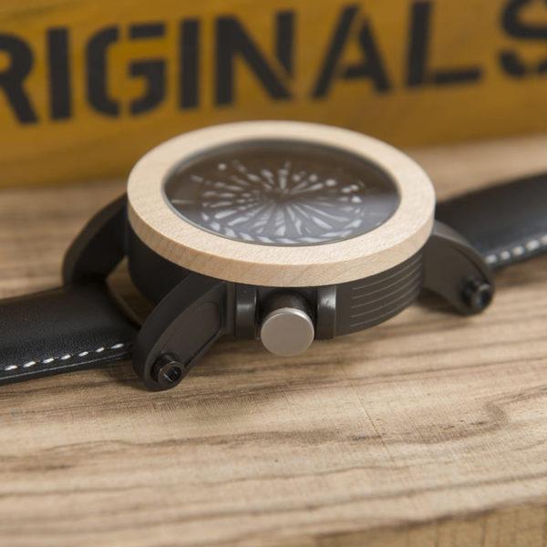 montre en bois mecanique optique cadran