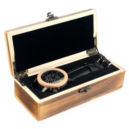 montre en bois mecanique optique coffret