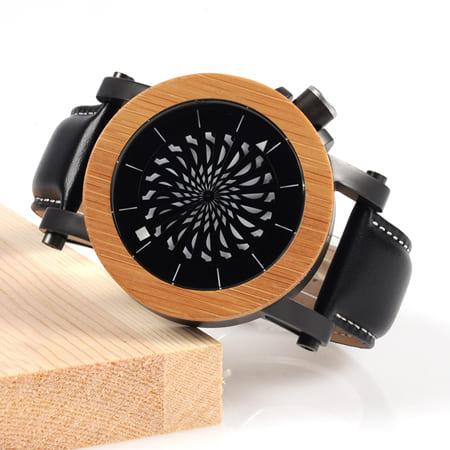 montre en bois mecanique optique marron