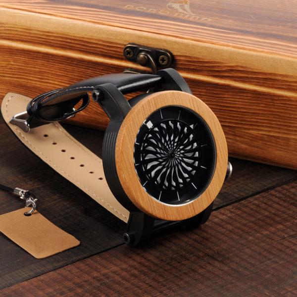 montre en bois mecanique optique naturelle