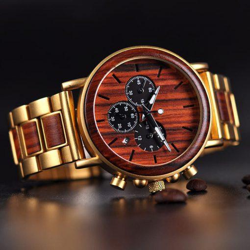 montre en bois style gentleman dore cadran