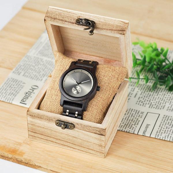 montre en bois contemporaine boite