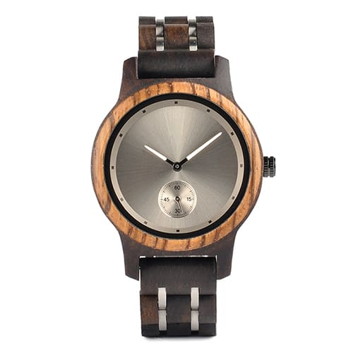 montre en bois contemporaine face