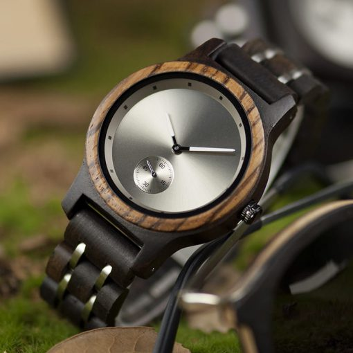 montre en bois contemporaine nature