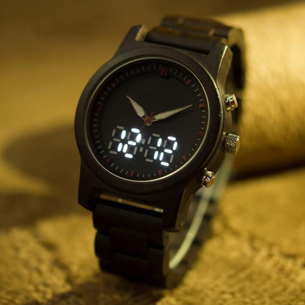 montre en bois numerique forestiere affichage montre
