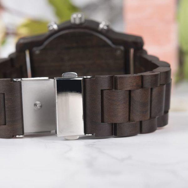 montre en bois numerique forestiere bracelet