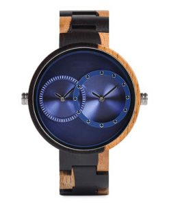 montre en bois satin bleu