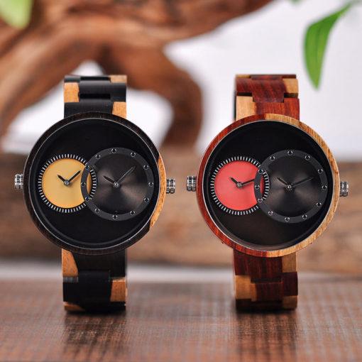 montre en bois satin coloris