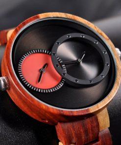 montre en bois satin rouge cadran