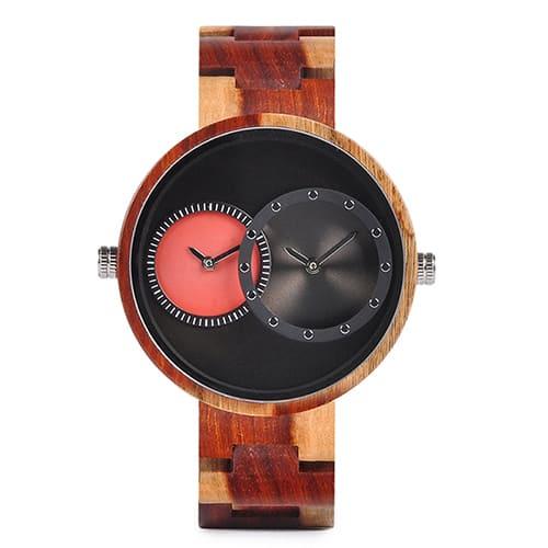 montre en bois satin rouge